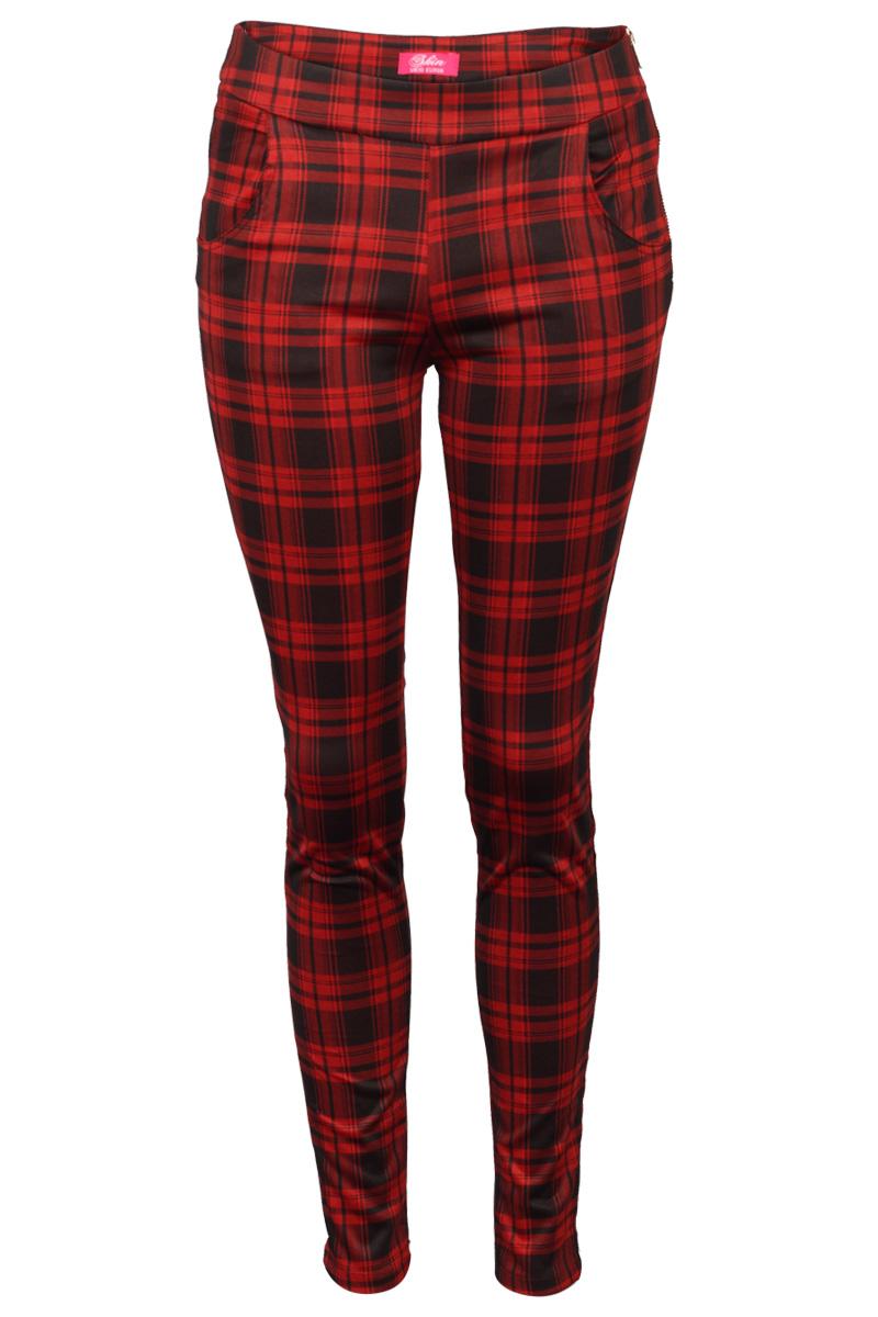 New Ladies Red Black Tartan Print Womens Slim Fit Evening Smart Trousers Pants | EBay