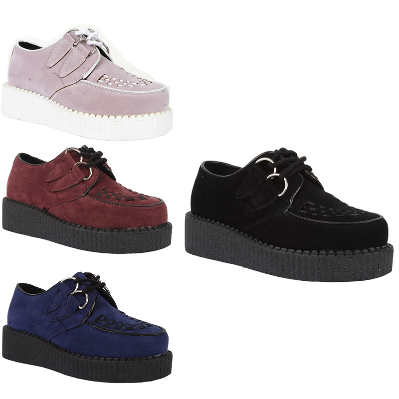 67Z NEW GIRLS FAUX SUEDE LACE UP SHOES PLATFORM GOTH BROTHEL ...