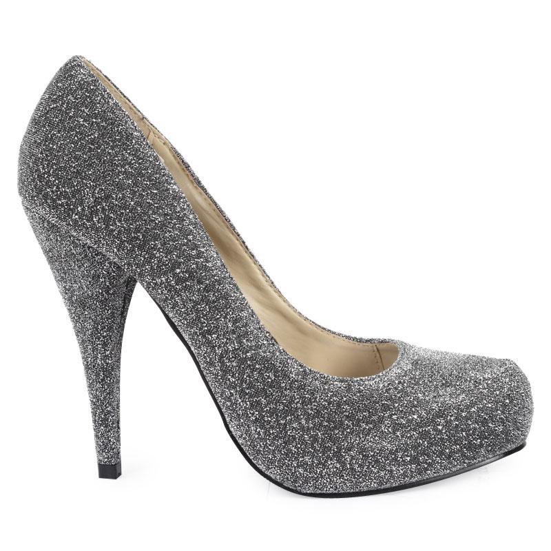 womens silver metallic glitter shimmer stiletto