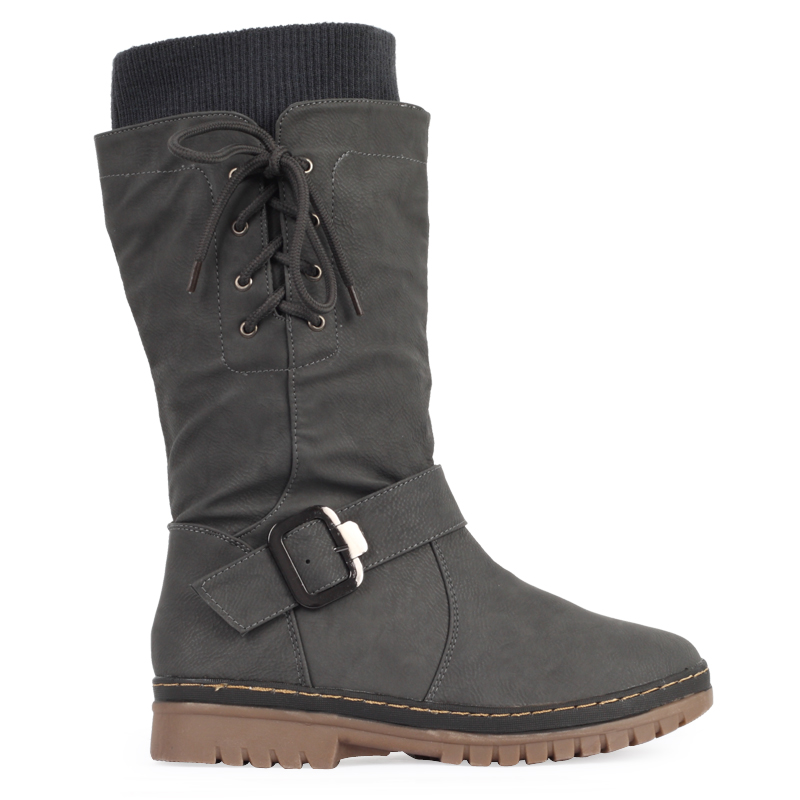 new womens grey buckle grip sole flat snow winter
