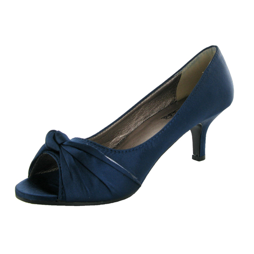 Details about Navy Satin Wedding Peeptoe Court Shoes Size 5 New