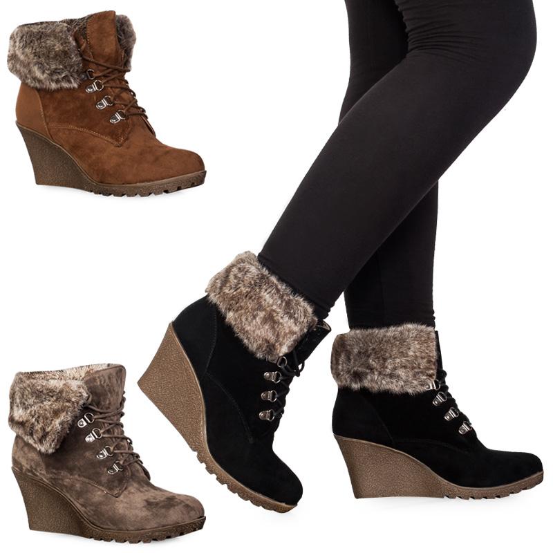 71e womens faux suede lace up faux fur wedge heel