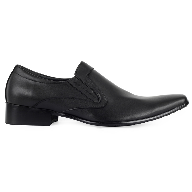 new mens black faux leather smart slip on pointy toe flat