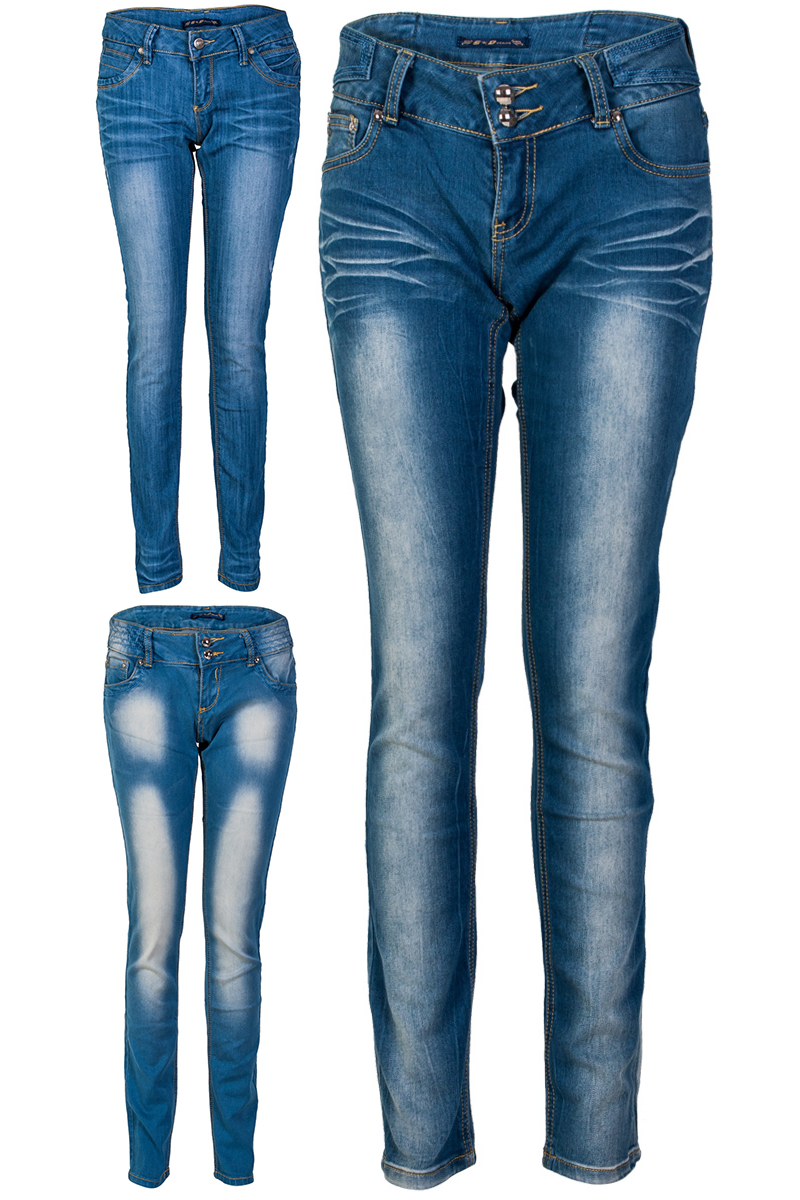 Womens light blue denim skinny jeans