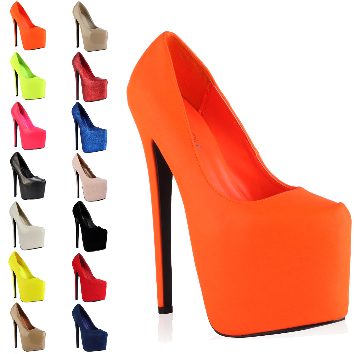 New Ladies Concealed Platform Womens Pointy Toe 7 Inch Stiletto ...