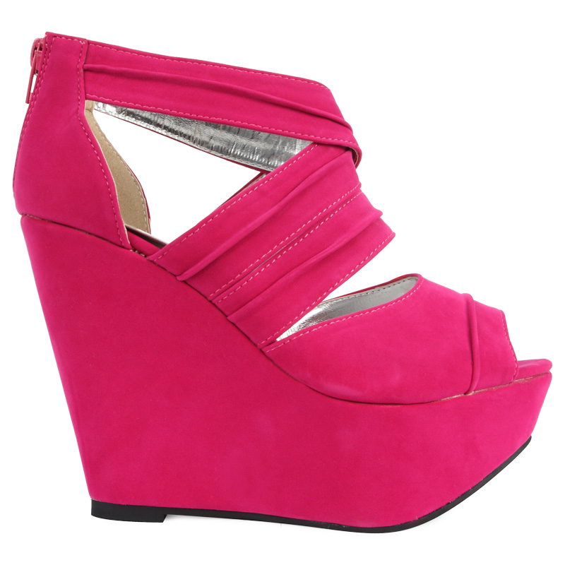 new womens fuschia faux suede zip up platform wedge