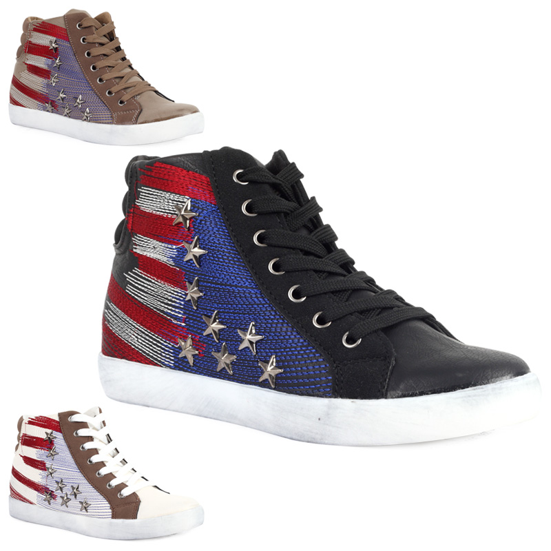 80S WOMENS AMERICAN FLAG PUMPS LADIES STUDDED BASKETBALL TRAINERS