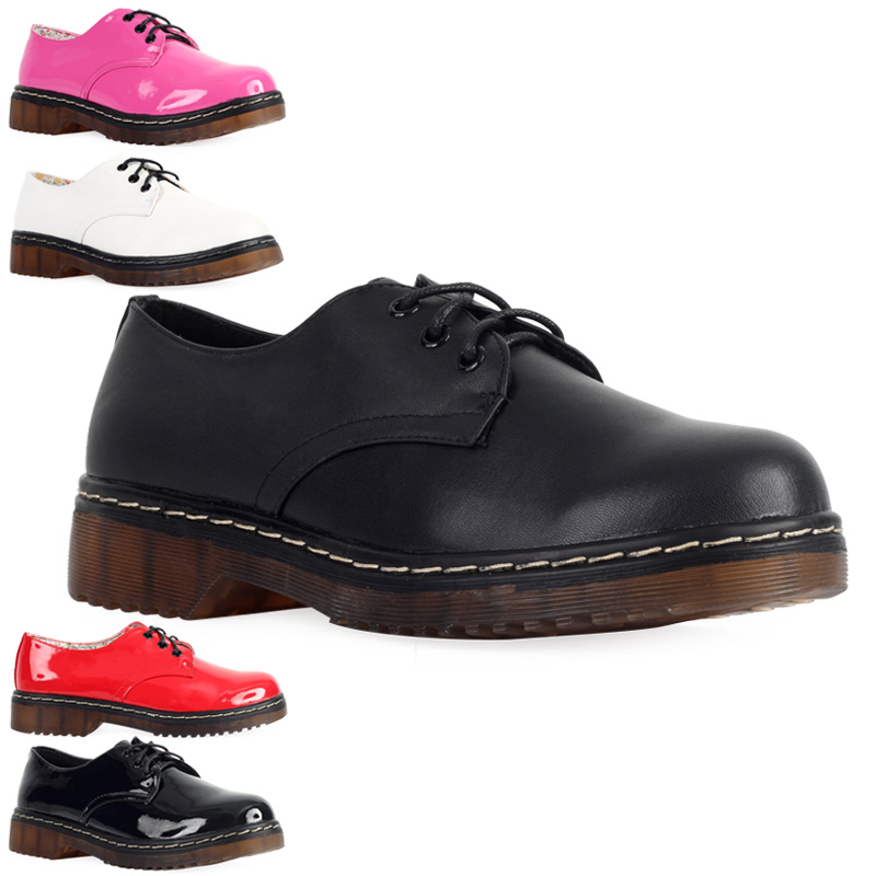 82C WOMENS LACE UP LADIES FLAT GOTH PUNK GRIP SOLE OXFORDS LOAFER SHOES SIZE 3-8