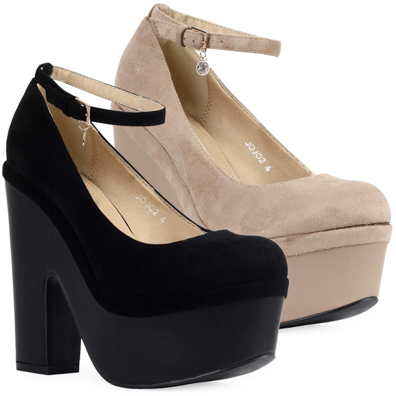 Ladies New Chunky Platform Womens Faux Suede Block High Heeled ...