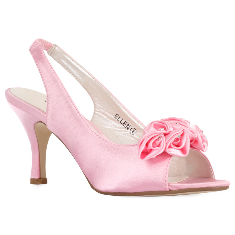 new womens pink satin floral diamante heel bridal