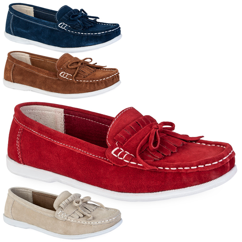 84K WOMENS FAUX SUEDE LADIES SLIP ON FLAT MOCCASINS LOAFERS BOAT SHOES SIZE 3-8