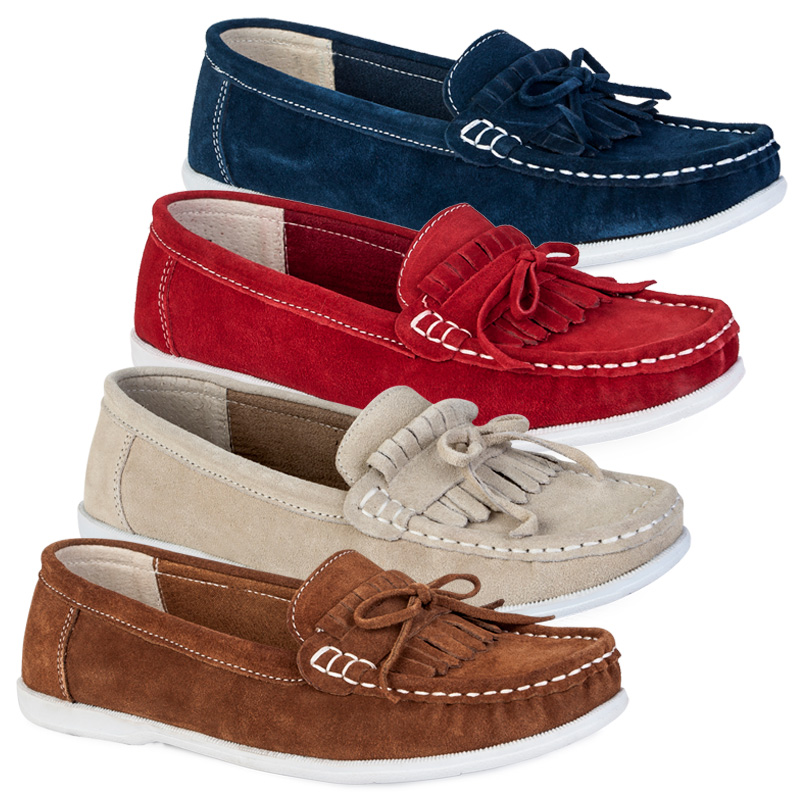 New Ladies Faux Suede Slip On Womens Flat Moccasins Loafers Boat Shoes Size 3-8