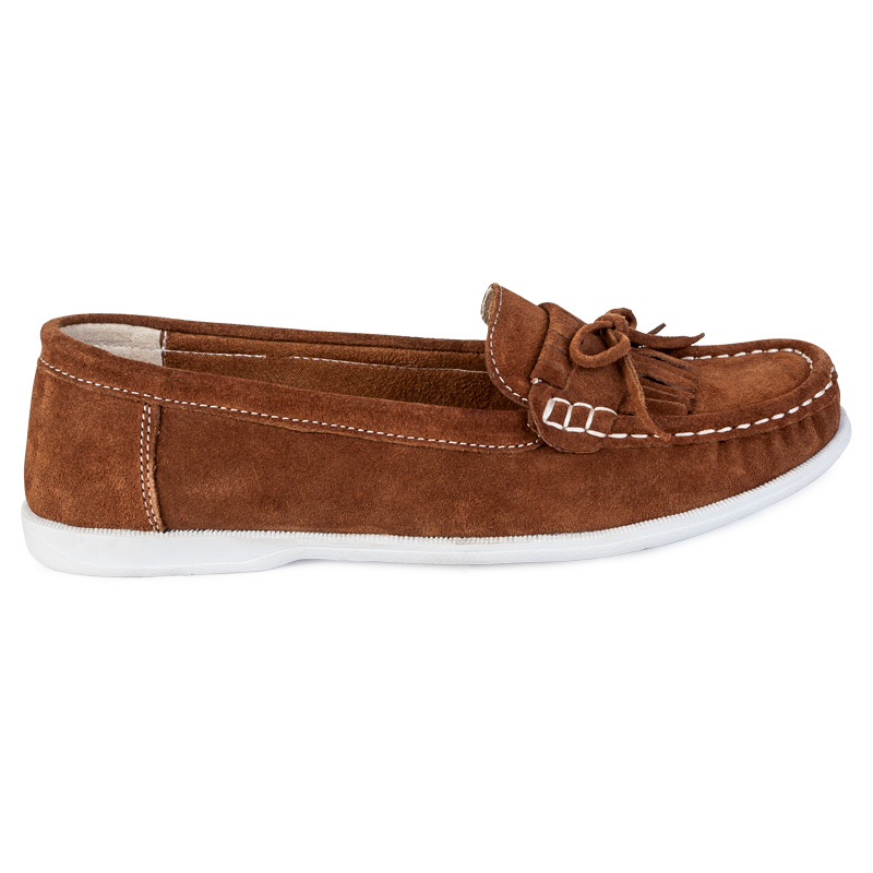 WOMENS TAN BROWN FAUX SUEDE LADIES FLAT MOCCASINS LOAFER BOAT SHOES