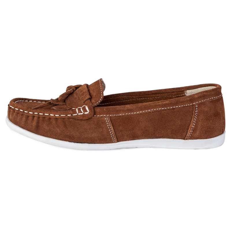 NEW WOMENS TAN BROWN FAUX SUEDE LADIES FLAT MOCCASINS LOAFER BOAT SHOES SIZE 3 8 | EBay
