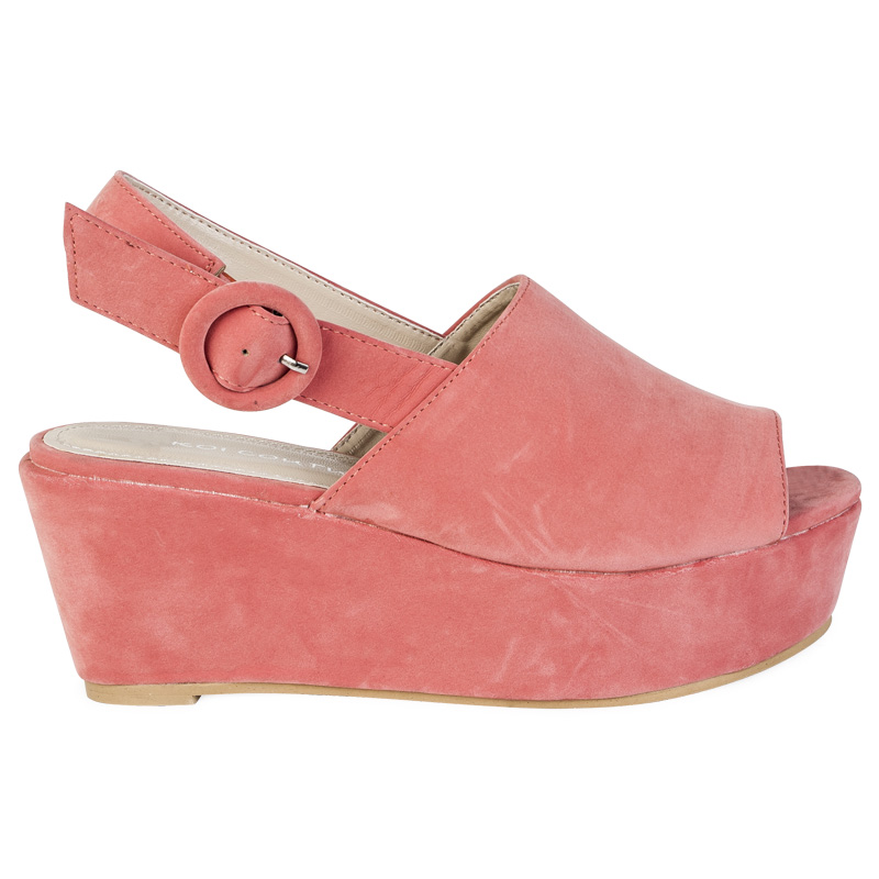 new womens salmon pink platform flatform wedge heel