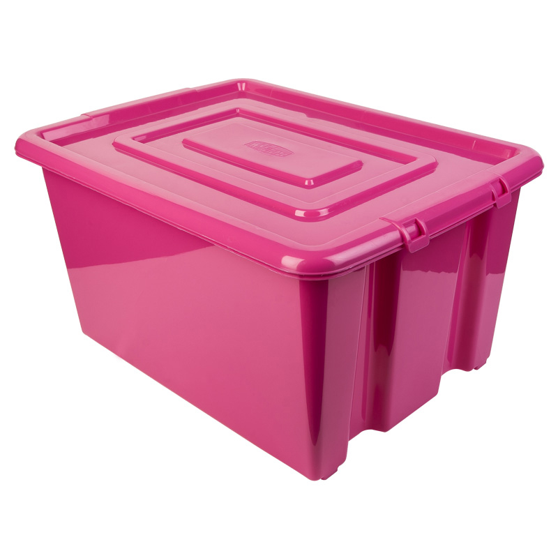 new whitefurze plastic stackable container medium storage box with lid 32l pink ebay. Black Bedroom Furniture Sets. Home Design Ideas