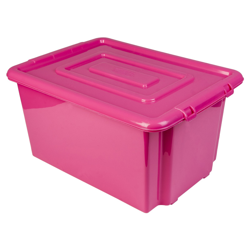 new whitefurze plastic stackable container large pink storage box with lid 52l ebay. Black Bedroom Furniture Sets. Home Design Ideas