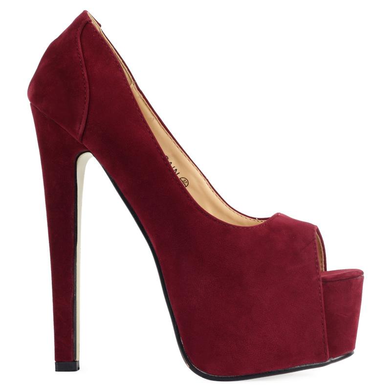 new womens burgundy faux suede platform high