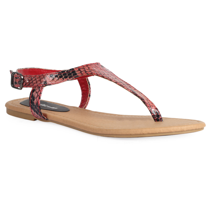 WOMENS SNAKE PRINT CORAL PINK LADIES FLAT TOE THONG BEACH SANDALS