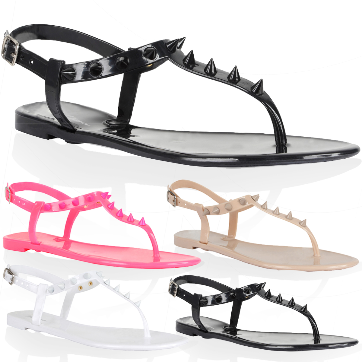 Womens sandals size 13 - New Womens Spiked Ladies Flat Studded T Bar Beach Jelly Sandals Shoes Size 3 8