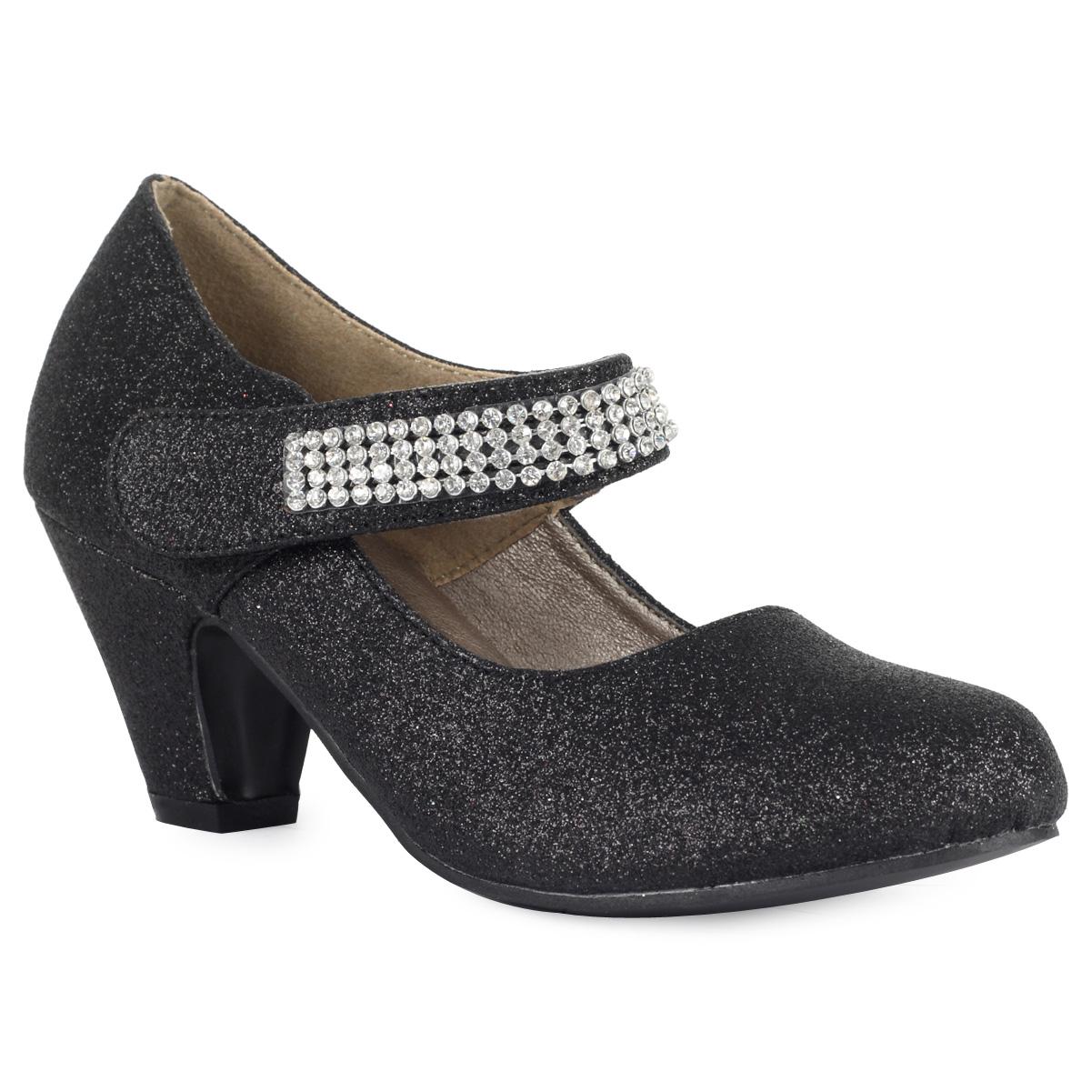 glittery black small heel diamante