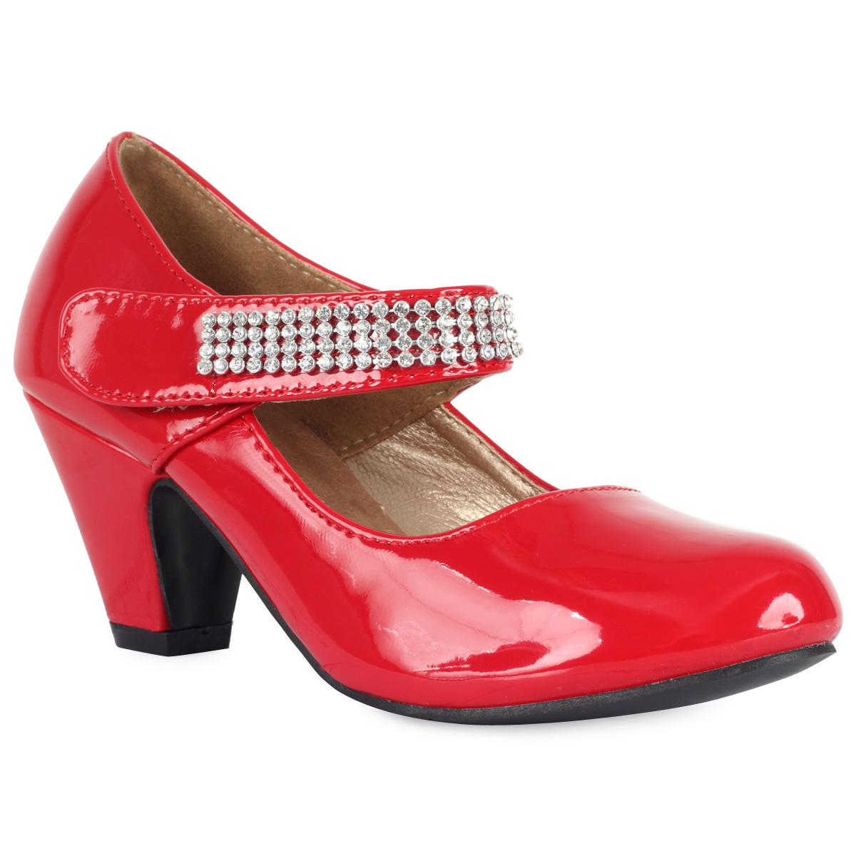 kids patent red girls small heel diamante mary jane party