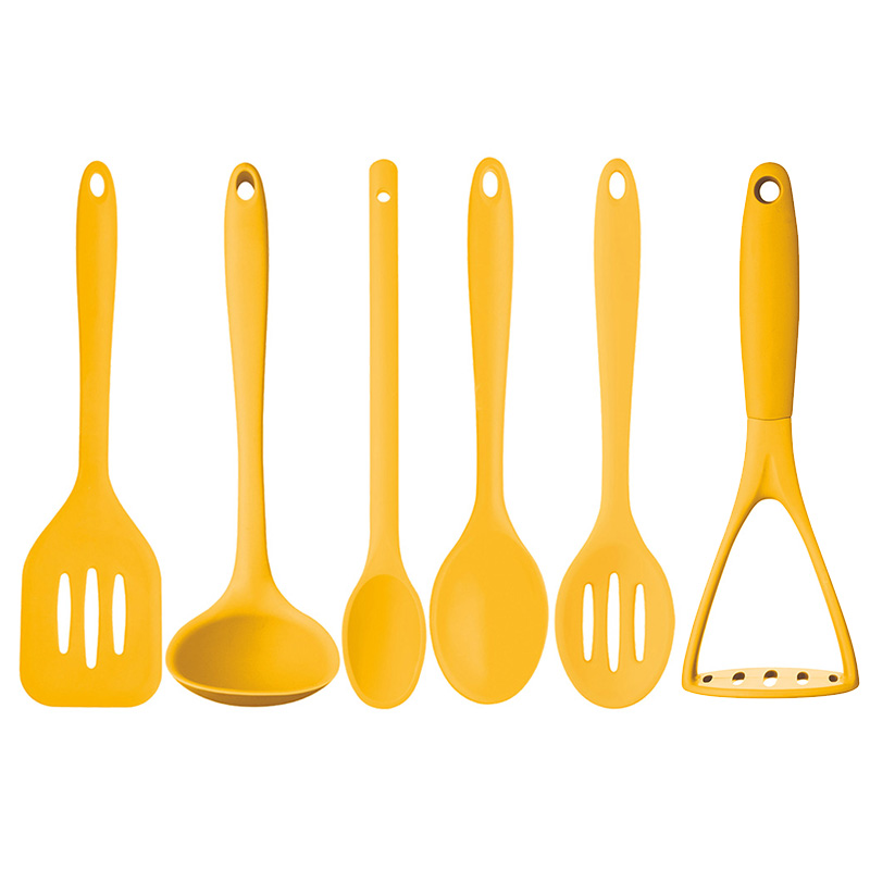 New Kitchencraft Yellow 6pc Silicone Cooking Utensils Ladle Masher Turner Spoons Ebay