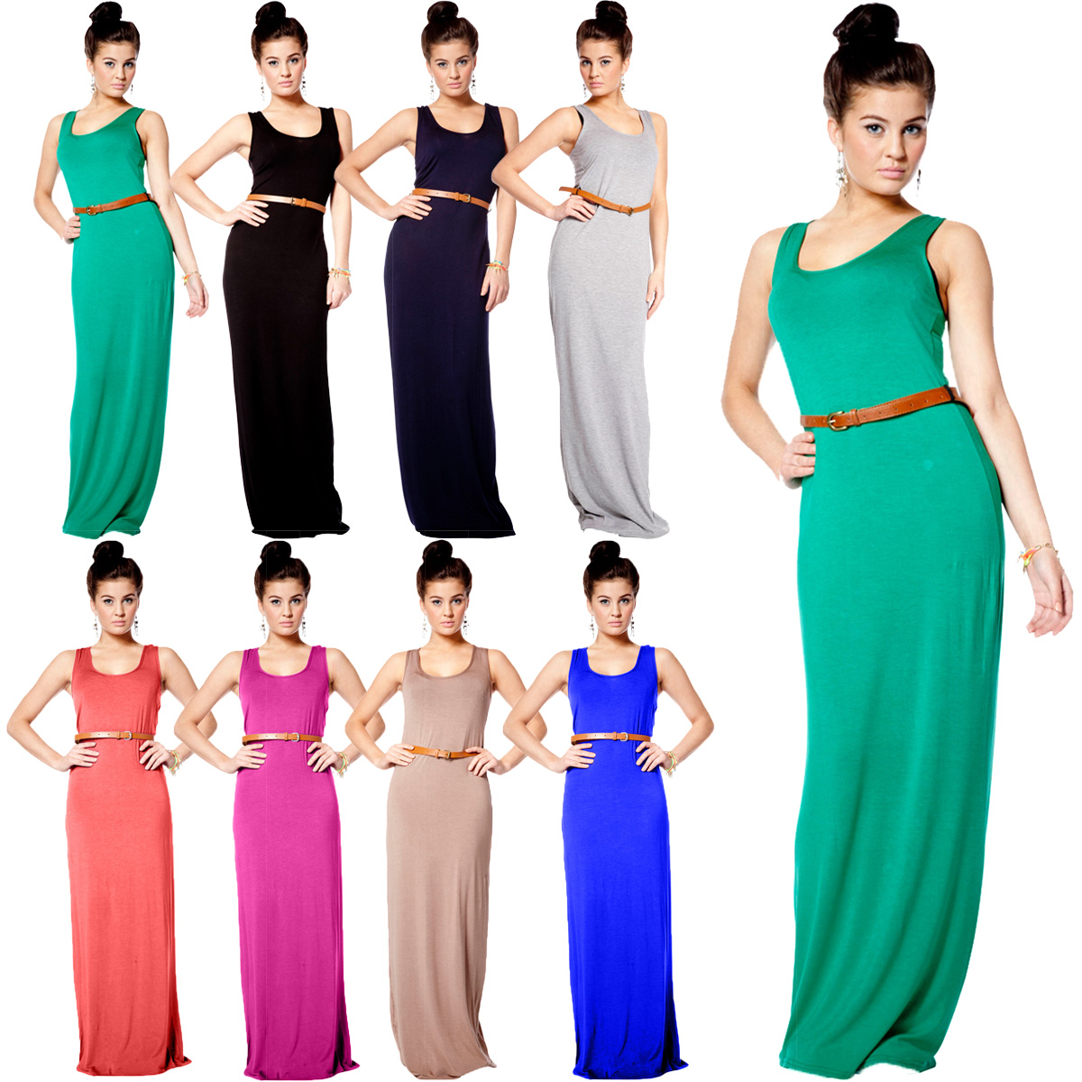 VH2 NEW WOMENS SLEEVELESS LADIES BELTED SUMMER STRETCH LONG MAXI ...