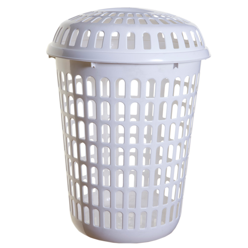 new home whitefurze white plastic round tall laundry basket clothes hamper lid ebay. Black Bedroom Furniture Sets. Home Design Ideas