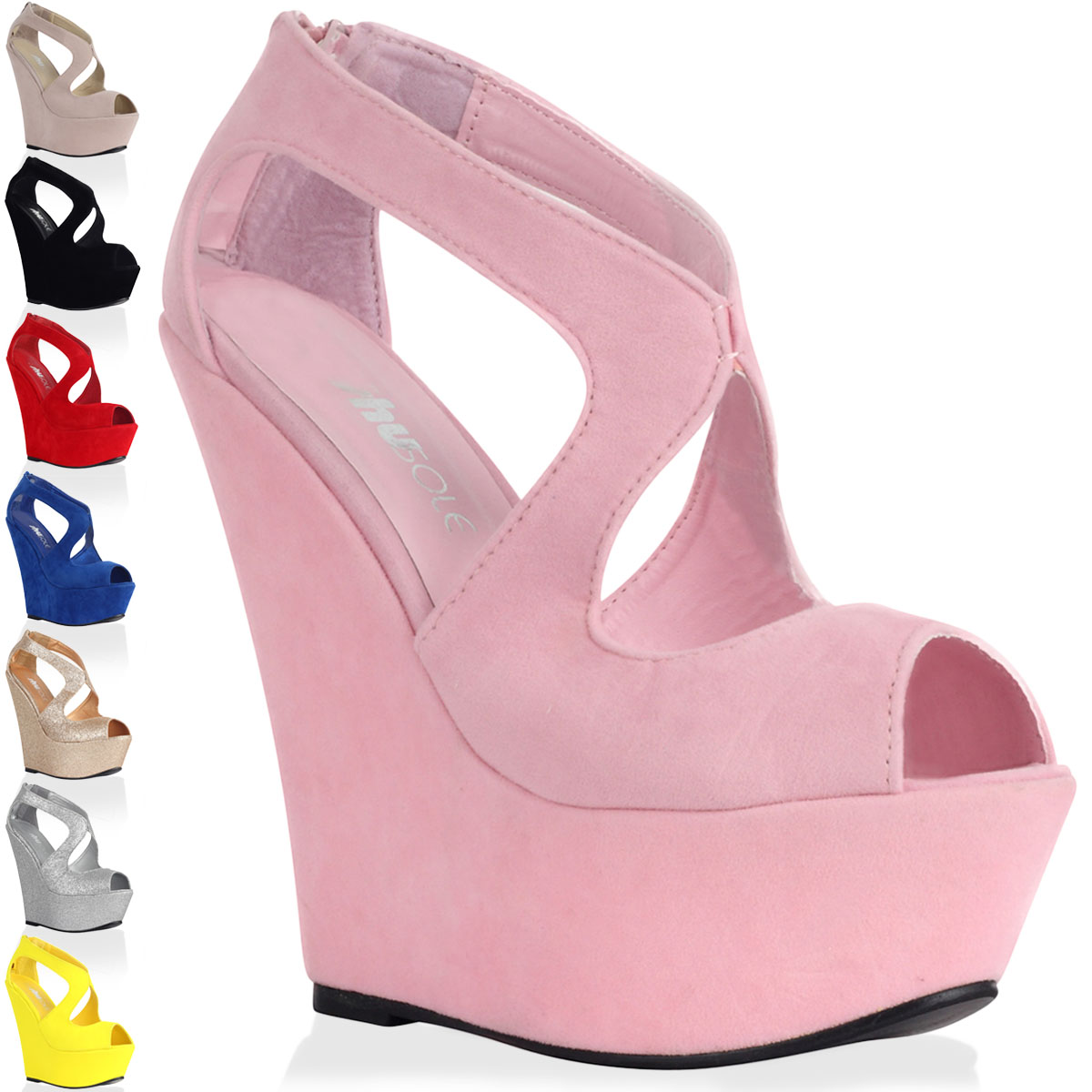 Ladies Cut Out Womens Platform Peep Toe Strappy High Wedge Heel ...