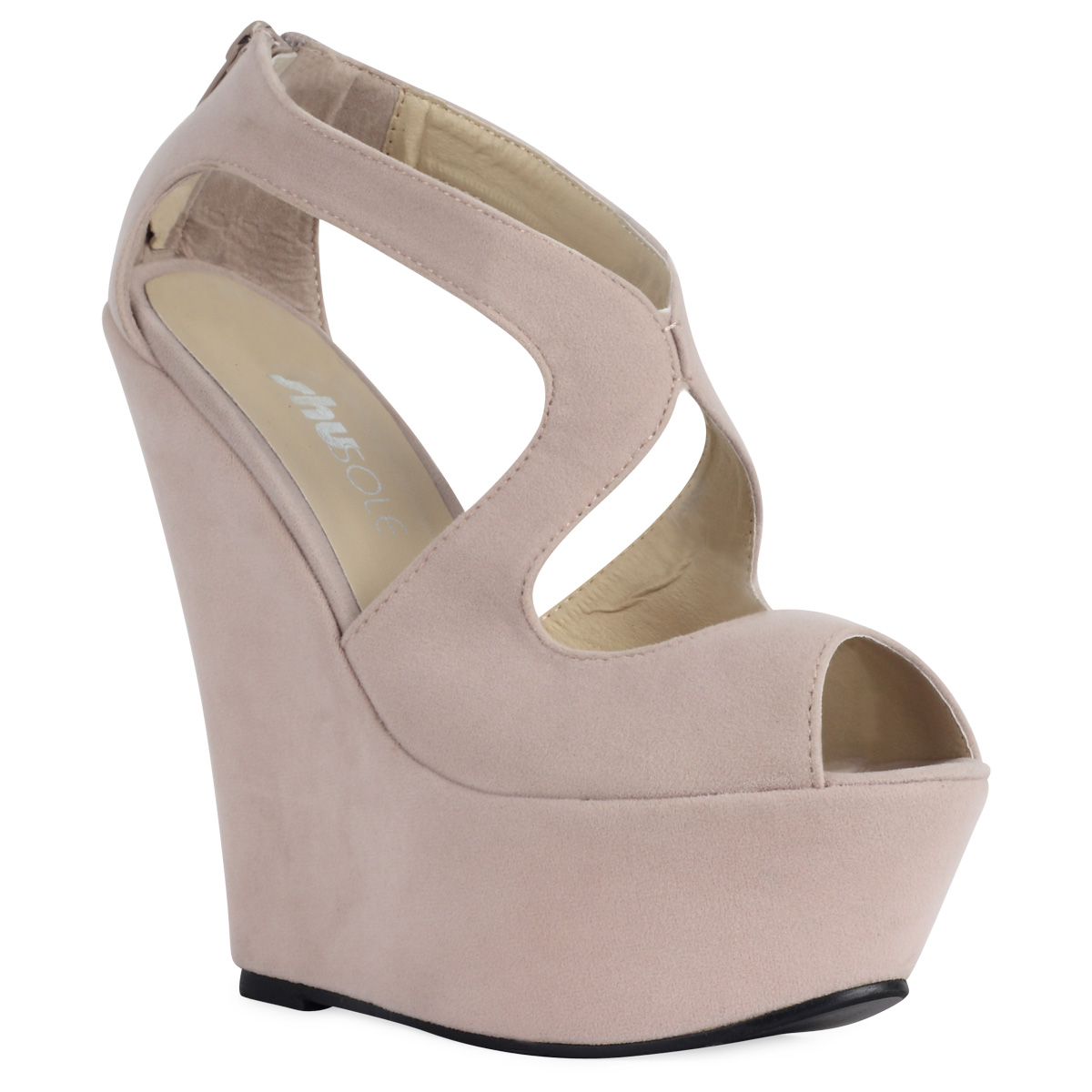 NEW WOMENS NUDE CUT OUT LADIES PLATFORM PEEP TOE HIGH WEDGE HEEL