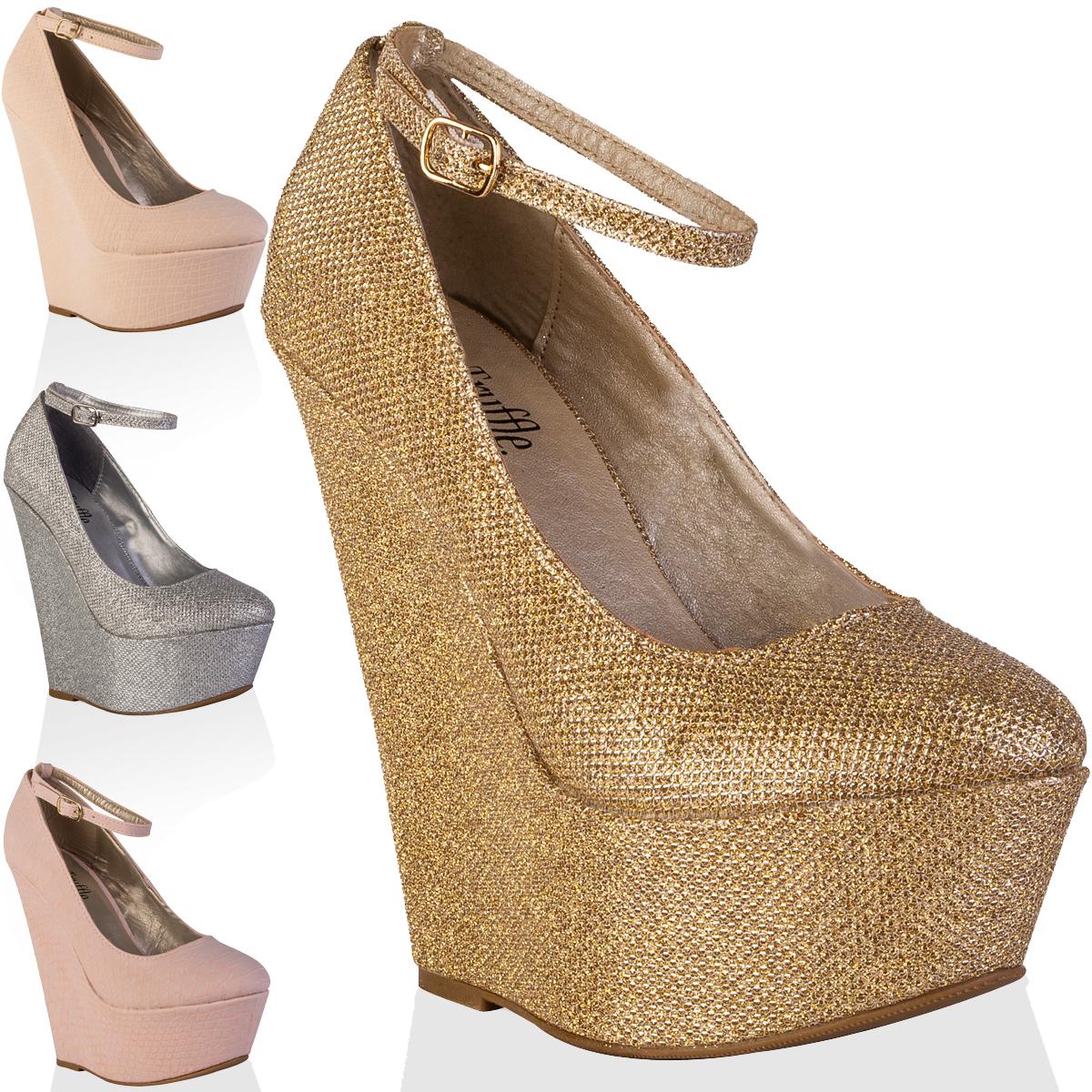 88g womens platform ladies high heels party summer wedges court shoes size 3 8 ebay. Black Bedroom Furniture Sets. Home Design Ideas