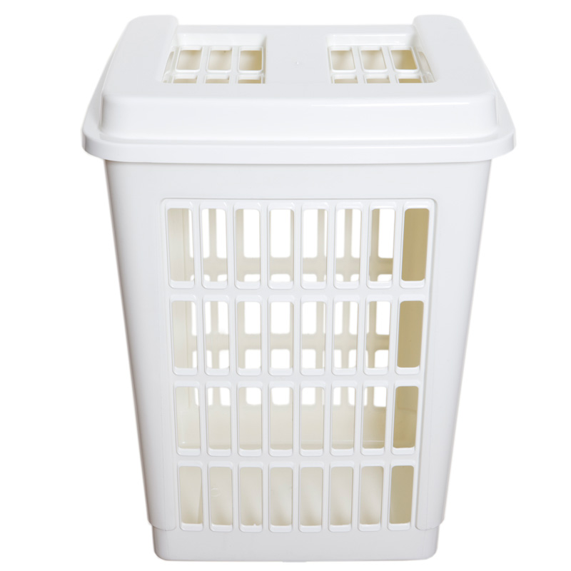 New home whitefurze cream plastic rectangular laundry basket tall hamper lid ebay - Plastic hamper with lid ...