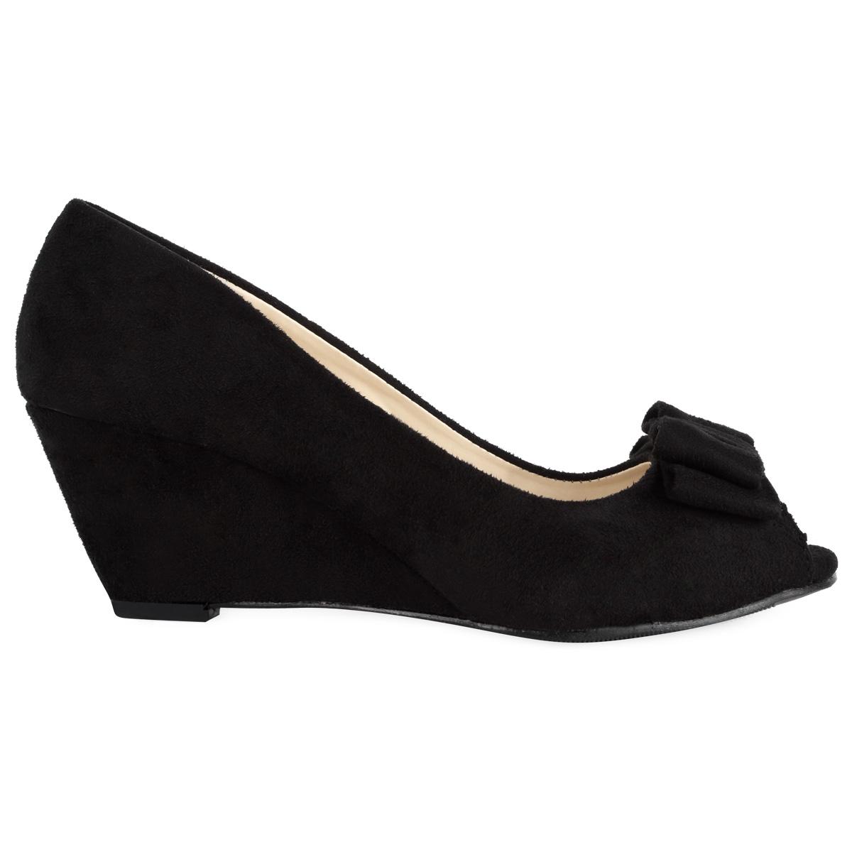 womens faux suede black low wedge heeled peep toe