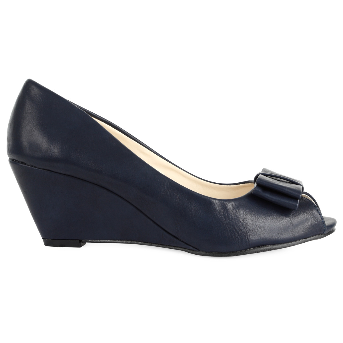 womens faux leather blue low wedge heeled peep toe