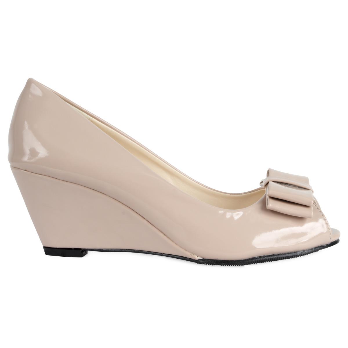 Buy Panama Wedge Heel Court Shoes - Nude Patent