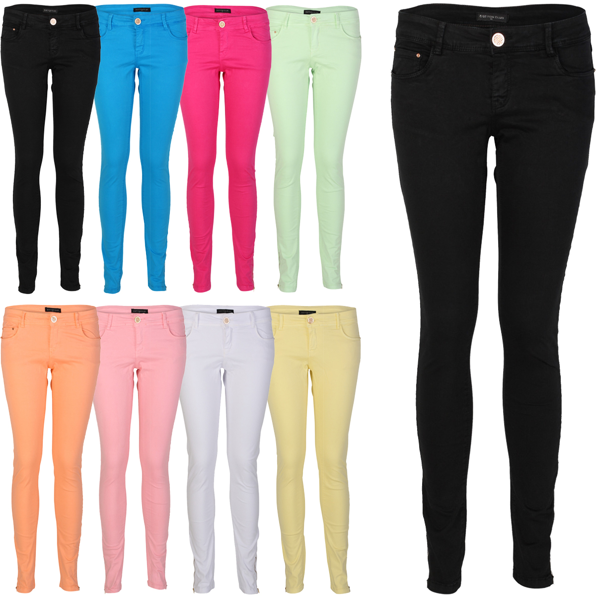 90L WOMENS COLOURED SOFT LADIES ZIP SKINNY LEG JEGGINGS JEANS ...
