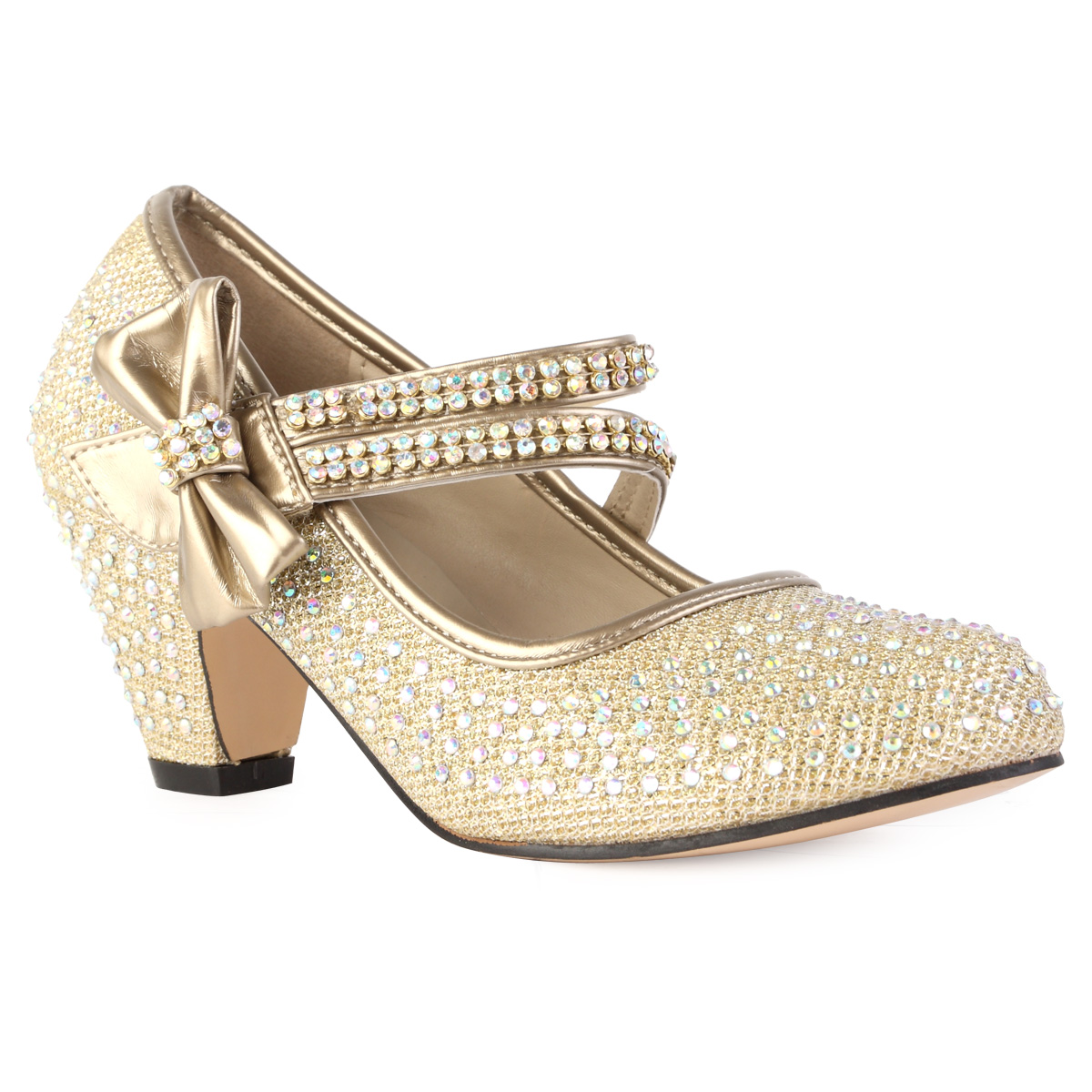 NEW GIRLS GOLD DIAMANTE STRAP KIDS BLOCK HEEL MARY JANE COURT ...