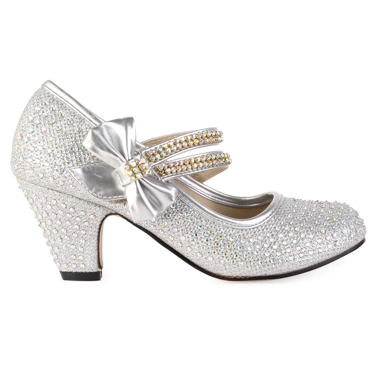 Block Heel Silver Shoes