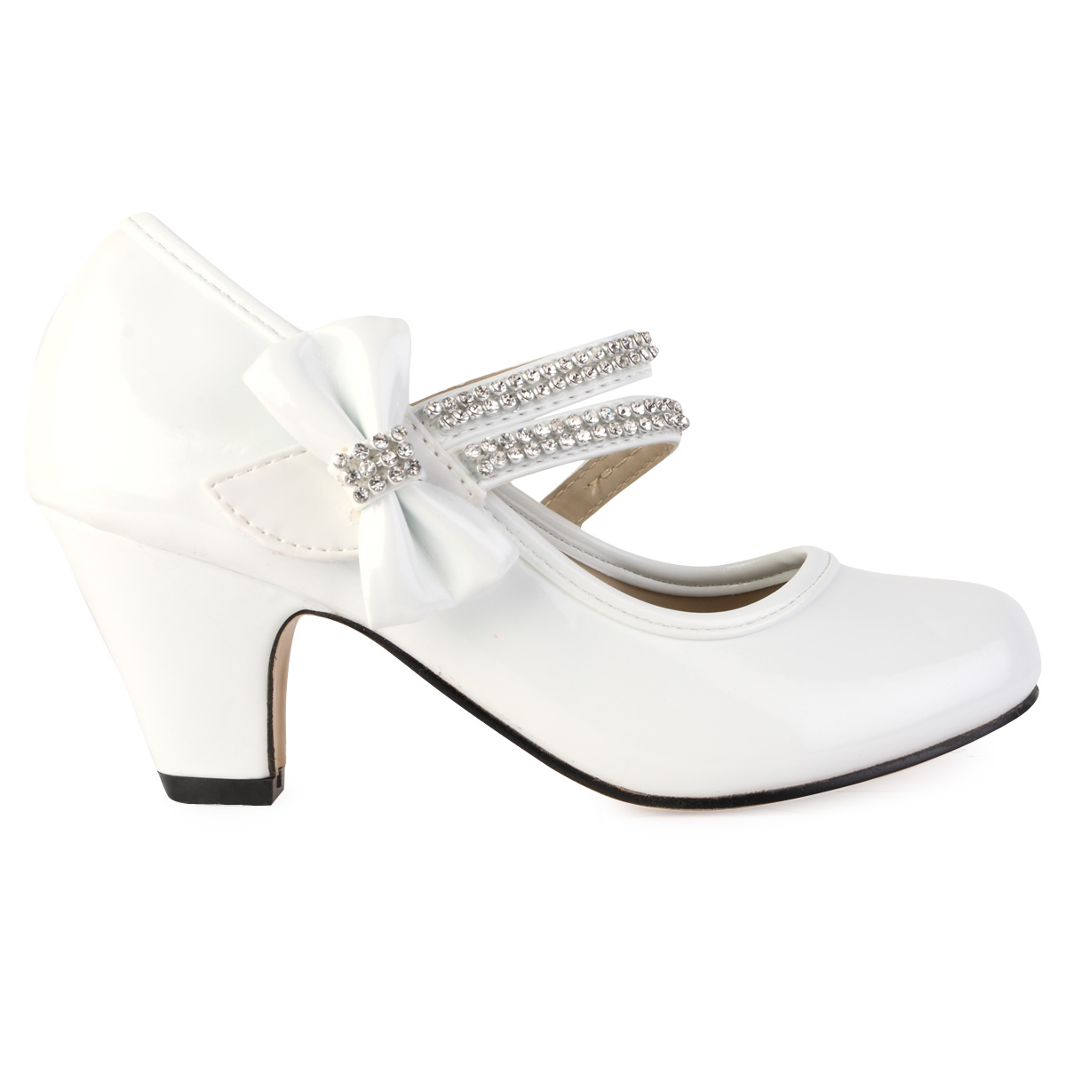 White patent shiny girls heeled diamante mary jane party shoes size 10