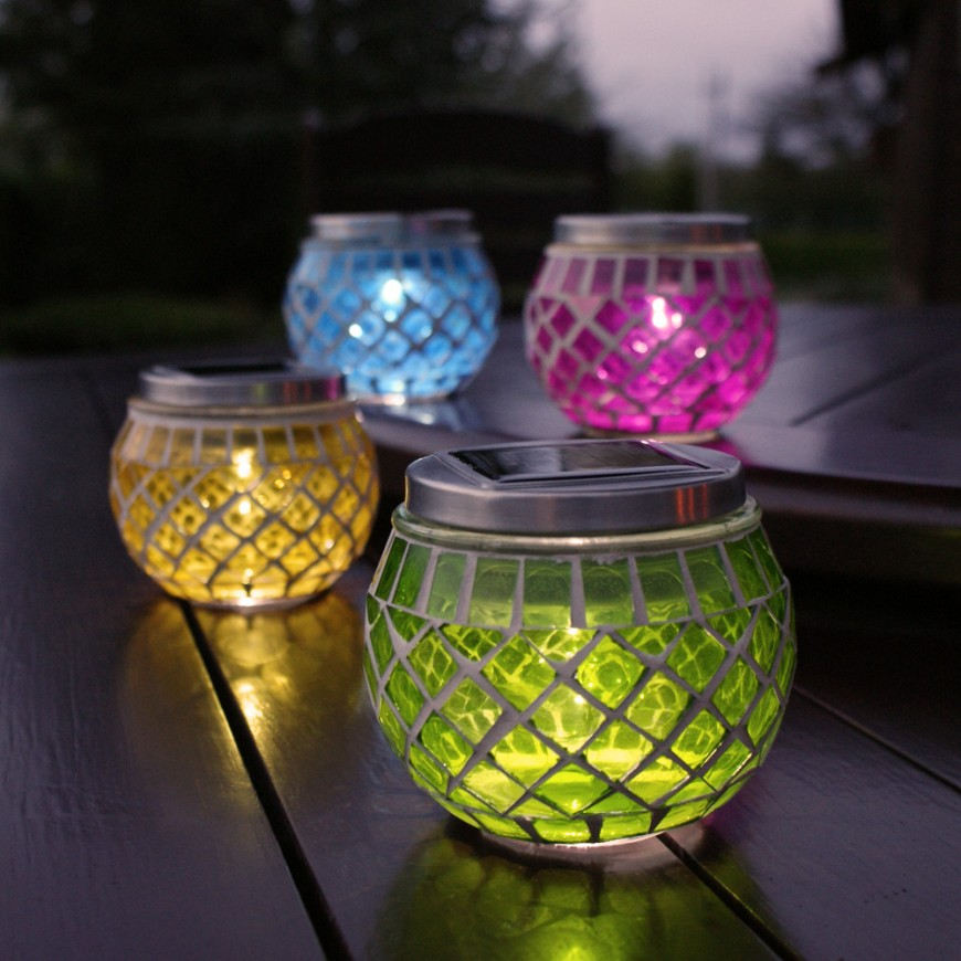 New festive lights 4x rechargable glass mosaic jars solar for Jardin glass jars