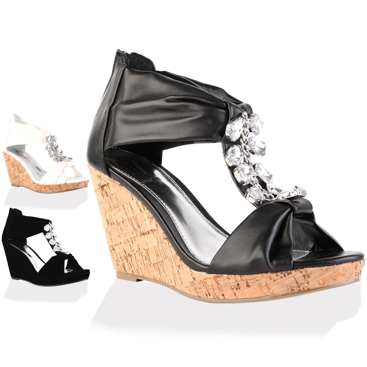 new black diamante womens peep toe high wedge heel