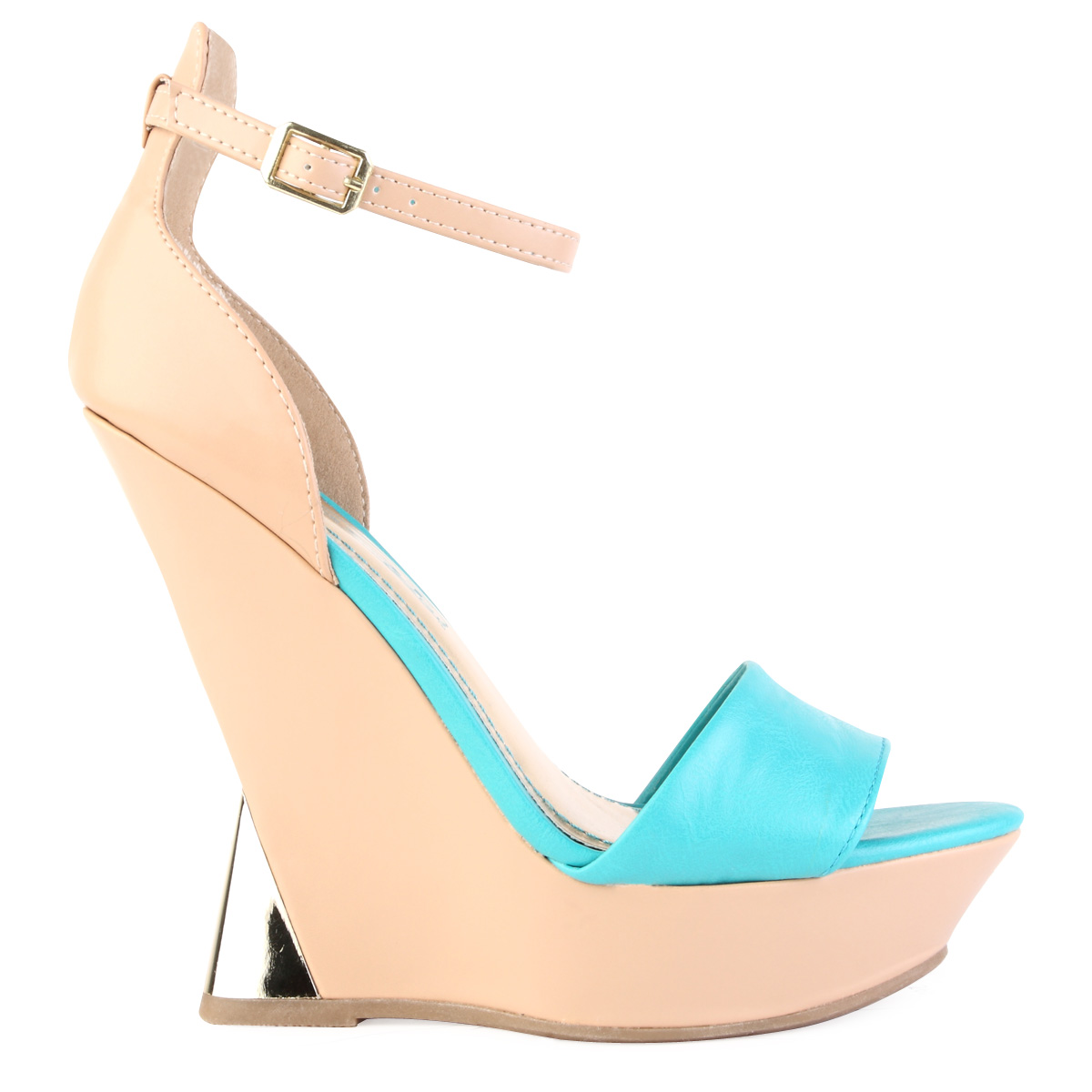 new womens turquoise blue metallic slim wedge