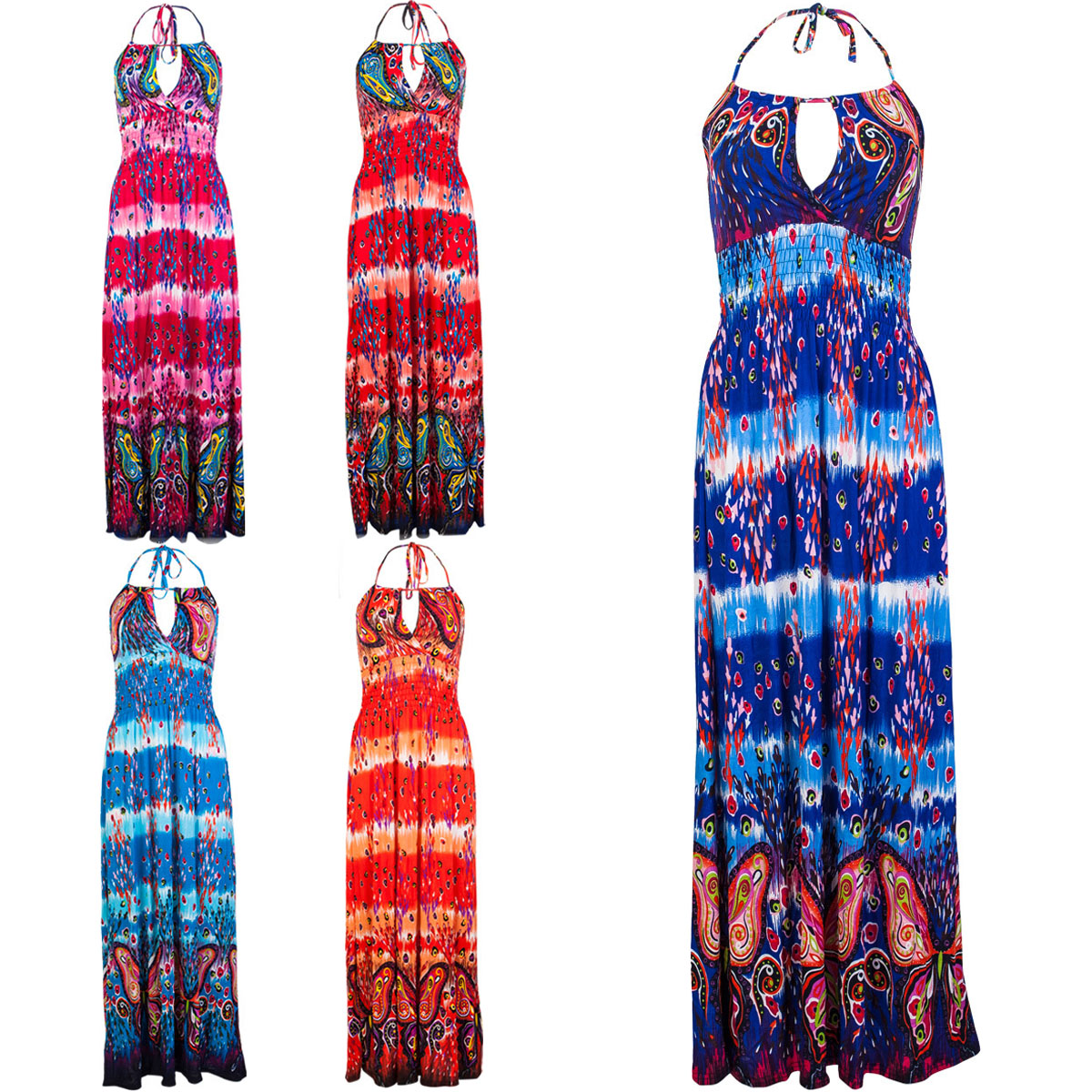 92Q WOMENS PRINTED LADIES HALTERNECK KEYHOLE LONG MAXI SUMMER DRESS SIZE 10-16