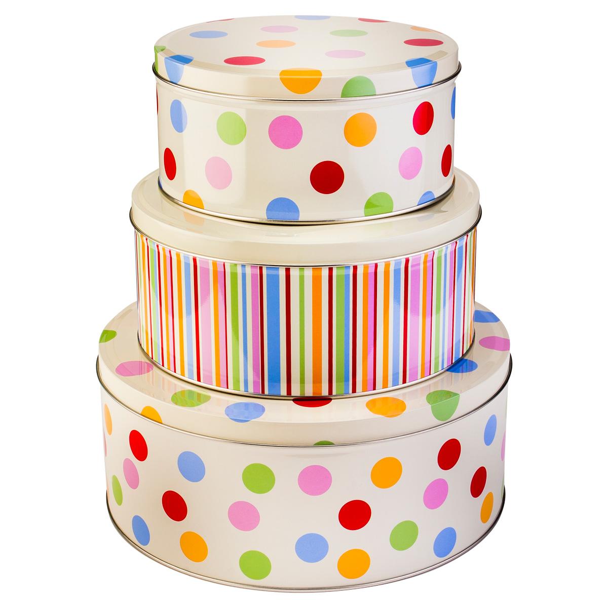 new cooksmart polka dots striped set of 3 fresh baking. Black Bedroom Furniture Sets. Home Design Ideas