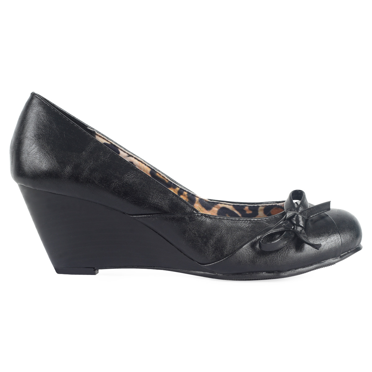 new womens black faux leather formal office wedge