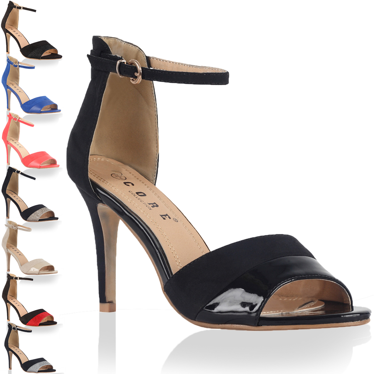 17F LADIES ANKLE STRAP WOMENS PEEP TOE HIGH STILETTO HEEL SANDALS SHOES SIZE 4-9