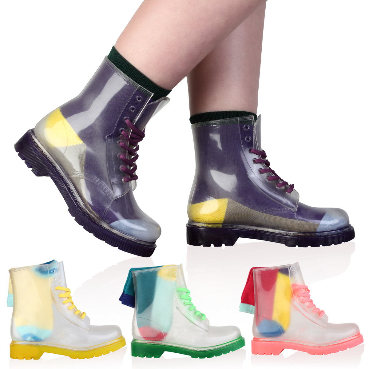 Unique Pair These Clear Rain Boots With Some Fun Colorful Socks For An Exciting, Cool Look The Neon Coral Sole And Shoelaces Create A Bright, Bold Statement, While Still Tackling The Elements Shoe Lace Color May Vary Pair These Clear Rain