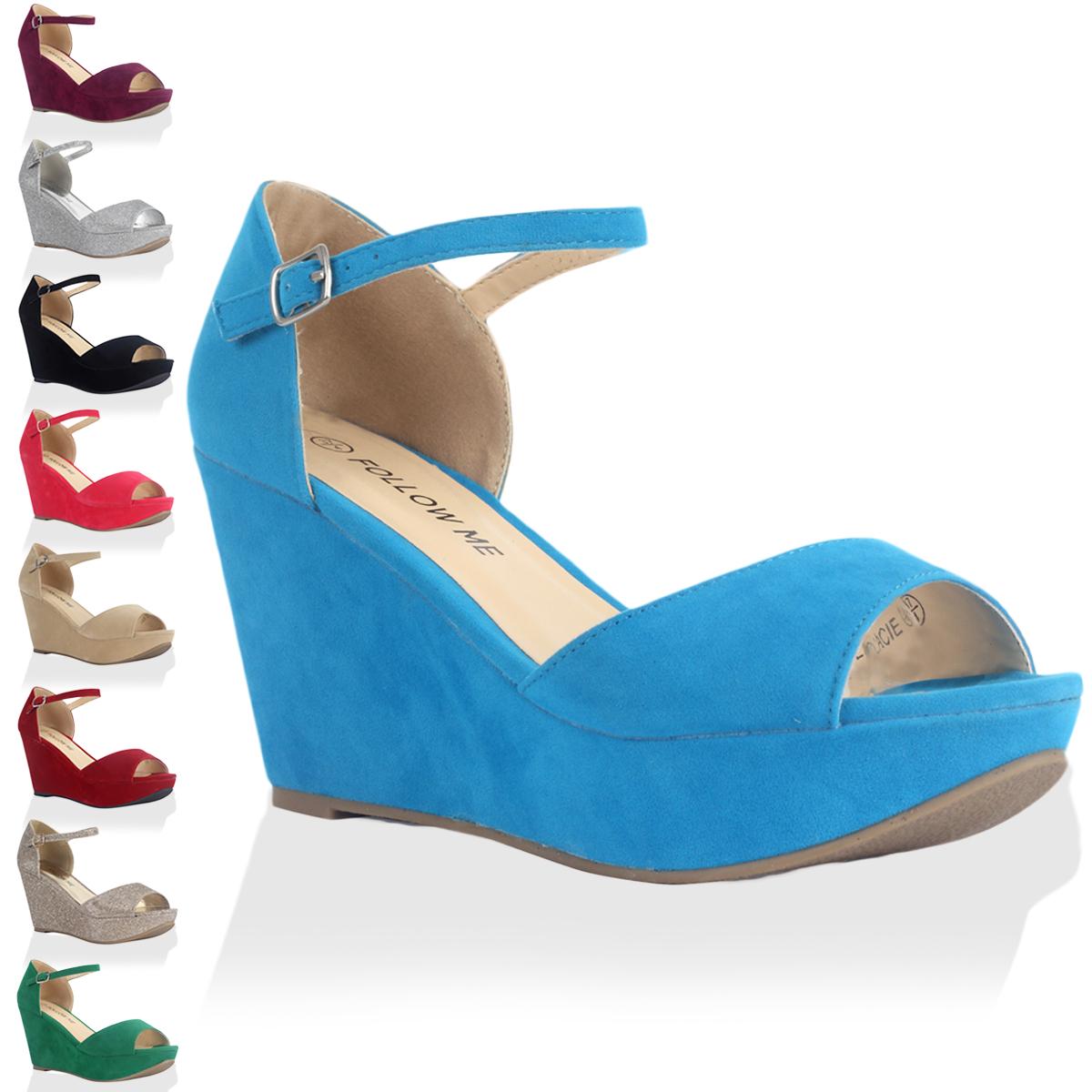 New Ladies Ankle Strap Womens Peep Toe Platform High Wedge Heel Shoes Size 4-9