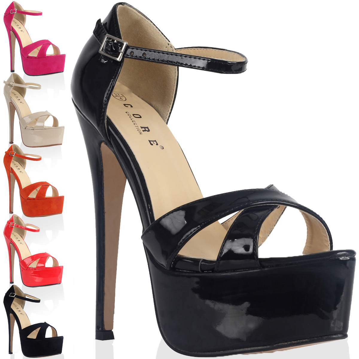 New Womens Strappy Ladies Platform Stiletto High Heel Sandals Shoes Size 4-9